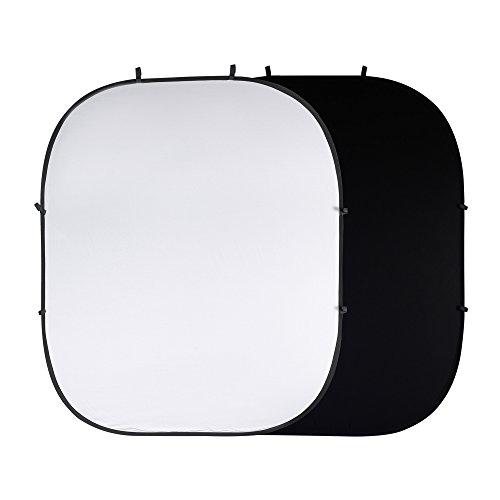 PhotoSEL BD123WB Fondo Plegable Reversible para Estudio Fotográfico y de Vídeo de Pantalla de 2 × 2.4m,Blanco Negro