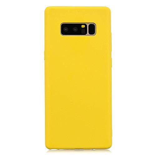 cuzz Funda para Samsung Galaxy Note 8+{Protector de Pantalla de Vidrio Templado} Carcasa Silicona Suave Gel Rasguño y Resistente Teléfono Móvil Cover-Amarillo