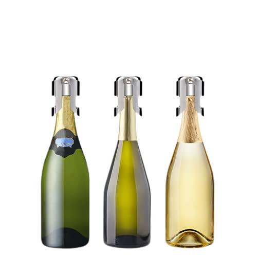 Sheey Tapón para Sellador de Champán, Paquete de 3 Juegos de Sellador de Tapón de Botella de Vino Espumoso de Acero Inoxidable con un Tapón de Sellado Más Largo Accesorios para Champán