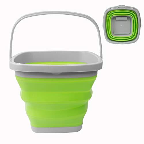 Secchio d'acqua pieghevole da 10 l, quadrato rotondo in silicone plastica secchio contenitore per campeggio pesca viaggio lavaggio auto (quadrato verde)