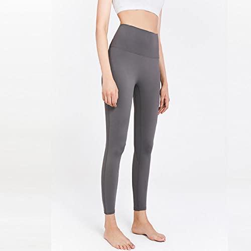 ArcherWlh Leggings Push Up,Pantalones antibacterianos Pantalones de Yoga Pantalones Deportivos Moler Europa Desnuda y Cintura Alta Estadounidense Hips Apretado Peach Fitness-Gris Alto_SG