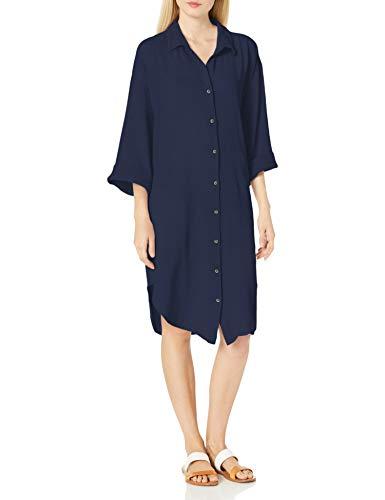 Seafolly Damen Textured Cotton Oversized Shirt Dress Cover Up Bademodeüberzug, Beach Edit Indigo, X-Large