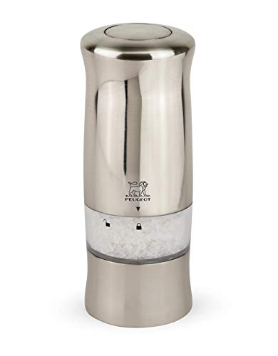 Peugeot Zeli Moulin à sel électrique avec éclairage, Taille : 14 cm, Couleur : Effet métal brossé, Matière : ABS, 24086
