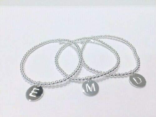 Bracciale in argento 925 elasticizzato con iniziale (C)