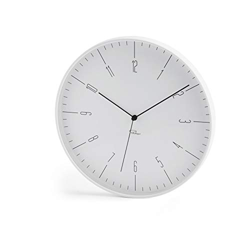Philippi Cara Wanduhr, weiß ABS, Glas, Unhwerk m. schleichender Sek, 30 (d) cm