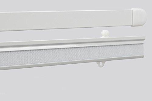 EFIXS Flächenvorhangset ~ Paneelwagen ~ Beschwerungsprofil ~ Breite 60 cm ~ Farbe weiss ~ Material Aluminium ~ für 4+6 mm Innenlaufschiene ~ Vorhangschiene ~ Schiebegardine ~ Gardinenschiene