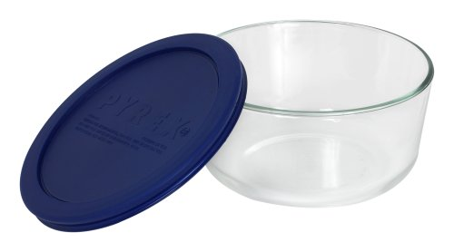 Pyrex 6017398 Simply Store 4-Cup Round Glass Food Storage Dish, Blue Lid