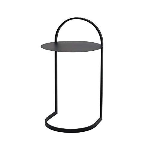 Tables FEI - Bureau d'ordinateur de Chevet d'angle en Fer forgé Basse d'appoint Ronde pour Tous Les postes de Travail (Couleur : Noir)