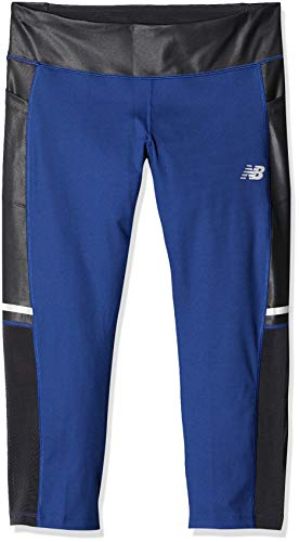 New Balance Impact Running Capri Pantalones, Mujer, Techtonic Blue, Medium