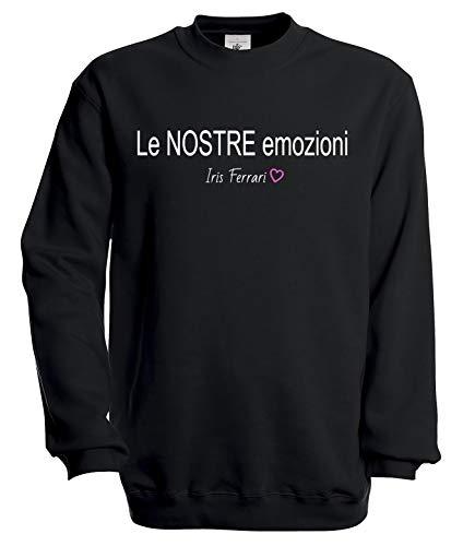 Tshirteria Italiana Felpa Girocollo Iris Ferrari - Le Nostre Emozioni - Una di Voi - Team Unicorni (11-12 Anni, Nero)