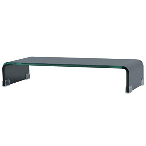 Festnight TV-Tisch aus Glas Bildschirmerh?hung Monitortisch TV-Schrank Glastisch Fernsehtisch TV-Board 60x25x11cm Schwarz