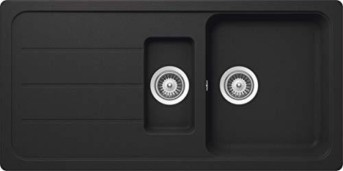 SCHOCK Küchenspüle 100 x 50 cm Formhaus D-150L Onyx - CRISTALITE Granitspüle mit 1 ½ Becken ab 60 cm Unterschrank-Breite