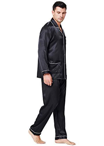 Herren Seide Schlafanzug Pyjama Schwarz Medium