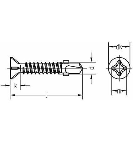 Reidl Bohrschrauben Blechschrauben mit Bohrspitze 6,3 x 38 mm DIN 7504 Stahl galv verzinkt farblos 10 St/ück