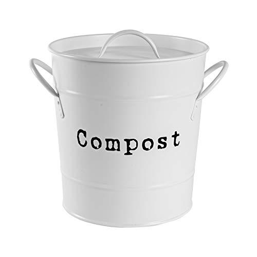 Harbour Housewares Vintage Compost Bin Speicherbehälter - Metall Square Glas Airtight Seal - Mattweiß