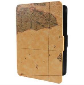 Tutoy Retro World Map Pattens PU Funda De Piel De Cuero para Amazon Kindle Paperwhite-Brown