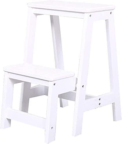MUZIDP Taburete plegable plegable escalera de madera para cocina, multifunción, taburete de pie pequeño, 2 niveles, para el hogar y la oficina, color blanco