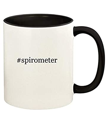 #spirometer - 11oz Hashtag Ceramic Colored Handle and Inside Coffee Mug Cup, Black