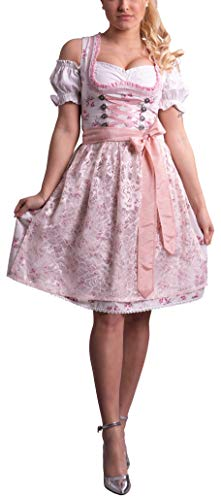 Golden Trachten-Kleid Dirndl Damen 3 TLG, Midi für Oktoberfest, mit Schürze und Bluse, 534GT (38)