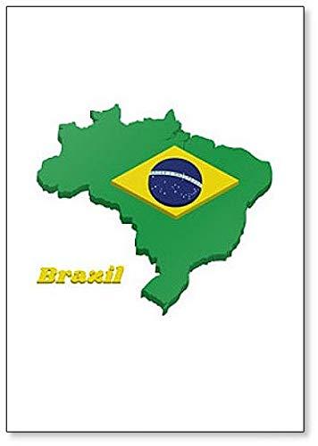 Imán para nevera con diseño de mapa y bandera de Brasil