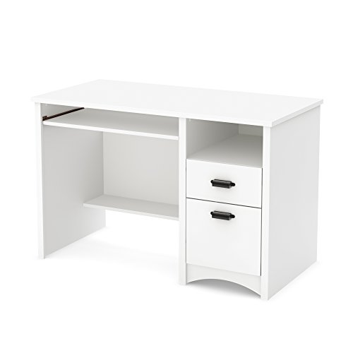 South Shore Computer Desk with 2 Drawers and Keyboard Tray, White, Pure