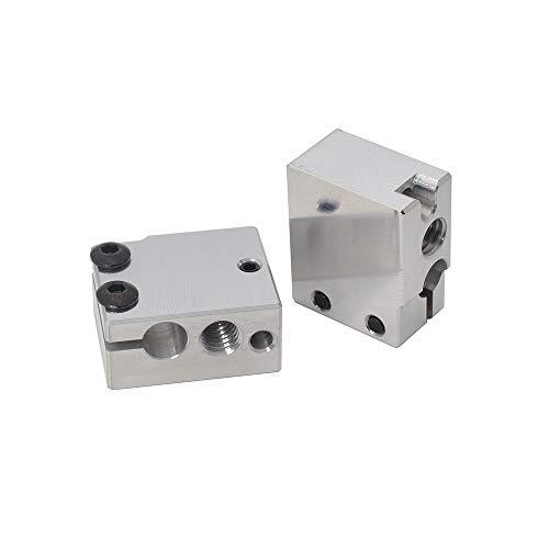 Bloque calefactor de aluminio mejorado para Volcano Hotend PT100 Sensor de cartucho BMG extrusor impresora 3D (aluminio)