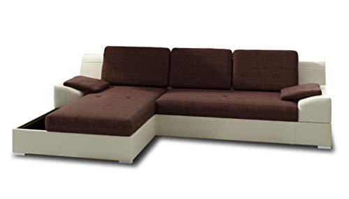 Ecksofa Aldo mit Glasregal, Couchgarnitur mit Bettfunktion und Bettkasten, Sofagarnitur, Couch mit Schlaffunktion, Big Sofa (Beige + Braun (Soft 018 + Inari 24), Ecksofa Links)