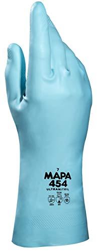 MAPA Professional Ultranitril 454 – Reinigungshandschuhe aus Nitril, flüssigkeitsdicht für den Bereich Gesundheit und Behörden, türkis, Größe 7, Schutzhandschuhe (1 Paar)