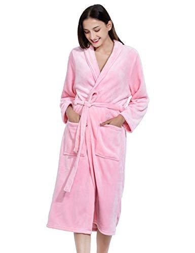 Micv バスローブ レディース メンズ 部屋着 お風呂上がり ルームウェア ボディタオル パジャマ ふわふわ 暖か 男女兼用 カップル ロング ガウン 腰ベルト付き カップルバスローブ (XL, ピンク)