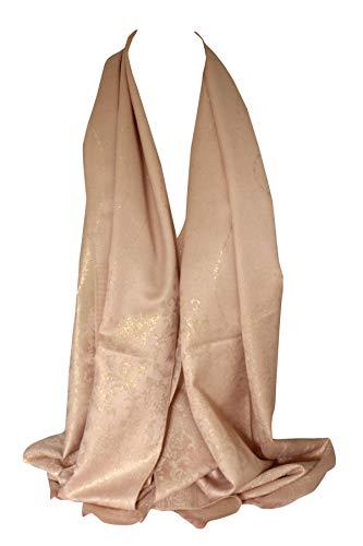 Doppelseitige Reversible Foliendruck Floral Borded Design Schal Wrap Kopf Schals Stolen Schal (Puder Rosa)