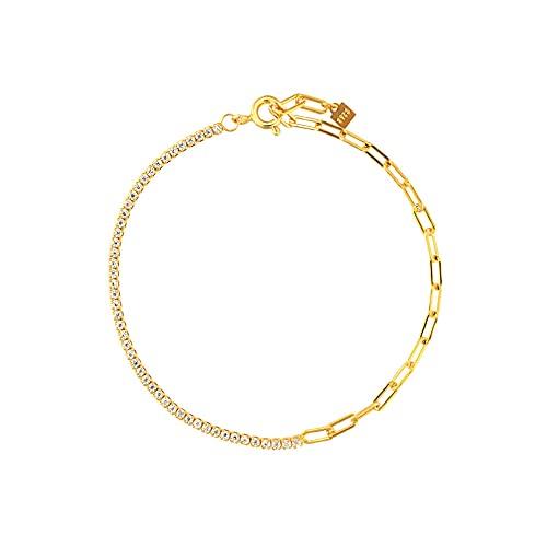 Pulsera de cadena de circonita arcoíris de plata esterlina 925 joyería de moda para mujer fina rock punk color color regalo-18 cm pulsera blanca
