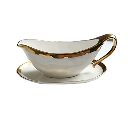 Gravy Sauce Boat With Saucer Stand Fine White Porcelain Easy Pour White Gravy Boat With Ceramic Tray