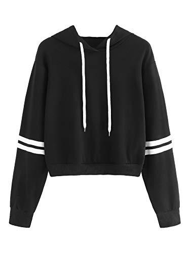 MAKEMECHIC Women's Casual Striped Long Sleeve Crop Top Hoodies Pullover Sweatshirt Black XL