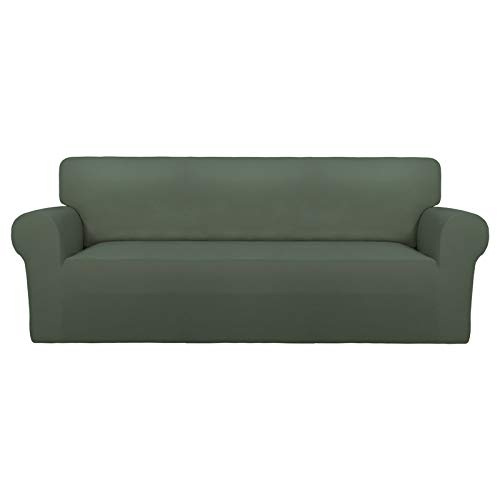 PureFit Super Stretch Chair Sofa Slipcover – Spandex Non Slip Soft Couch Sofa Cover, Washable Furniture Protector with Non Skid Foam and Elastic Bottom for Kids, Pets (Sofa, Grayish Green)