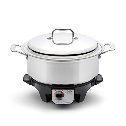 360 Stainless Steel Slow Cooker (6 Quart), Stock Pot is Induction Cookware, Waterless Cookware, Oven Safe, Stainless Steel Cookware. Electric Slow Cooker Base Included. (6 Quart)