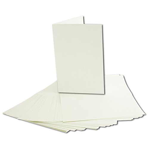 50x faltbares Einlege-Papier für B6 Doppelkarten - cremefarben - 168 x 224 mm (112 x 168 mm gefaltet) - ideal zum Bedrucken mit Tinte und Laser - hochwertig Mattes Papier von Gustav NEUSER®