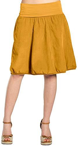 Caspar RO004 Damen Cord Rock Knielang, Farbe:Curry, Größe:L-XL