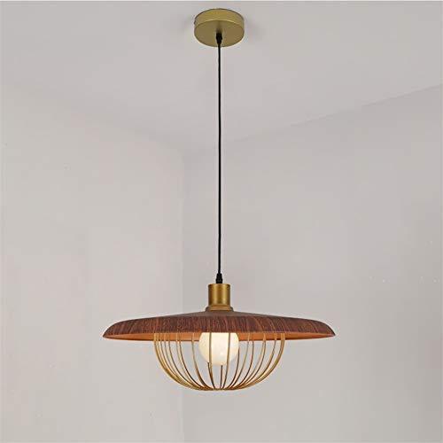 XUMINGDD Retro houtlook kroonluchter ijzeren lampenkap plafondlamp slaapkamer kleding woonkamer winkel bartafel kantoor decoratieve verlichting 45cm Walnoot Kleur