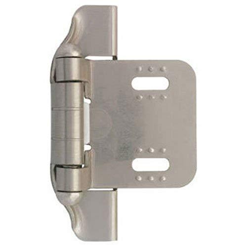 Liberty H01911L-SN-U, Semi-Wrap Cabinet Hardware Self-Closing Hinge, Overlay Hinges, 1/4 in., Satin Nickel, 1 pair