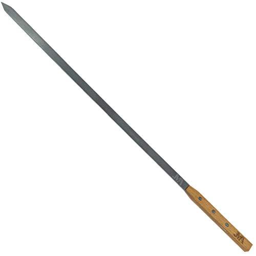 JMA – Grillspieß (einzeln) aus rostfreiem Edelstahl (AISI 430) – extra Lange Schaschlikspieße 53cm - Holzgriff aus Buchenholz – hochwertige Qualität