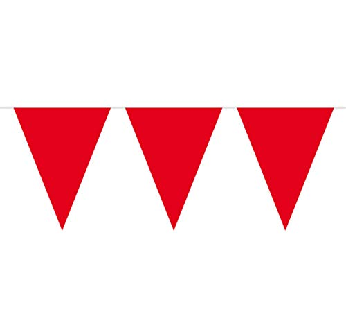 Folat 8714572226134 Partydekorationen, 10 Meter, rot Fahnenkette mit 15 Fahnen, rote Wimpelkette