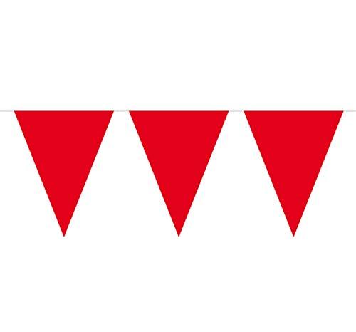 Partydecoraties, 10 meter, rode vlaggetjesketting met 15 vlaggen, rode vlaggetjes