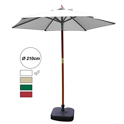 Sonnenschirme Gartenschirm 7' Patio Round Table Umbrella Outdoor Market Umbrella, Hohe Qualität 70% UV-beständigem Polyestergewebe & Massivholz-Halterung (Color : Off-White)