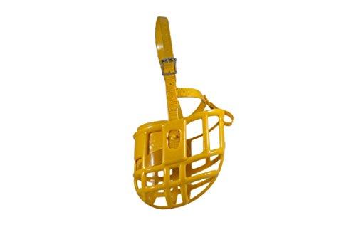 Birdwell Enterprises - Plastic Dog Muzzle with Adjustable Plastic Coated Nylon Headstall - Made in The USA - (Medium, Gold)