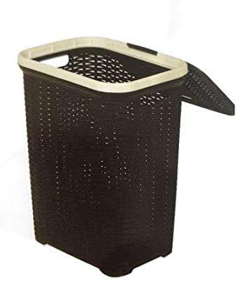 Nilkamal Plastic Ventilated Laundry Basket with Lid (50 LTR, Brown)