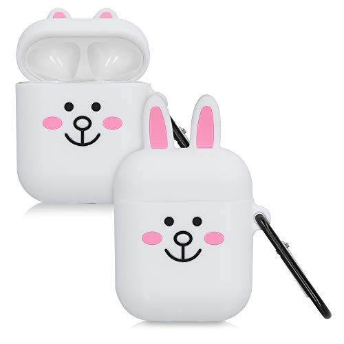 kwmobile Hülle kompatibel mit Apple AirPods Kopfhörer - Silikon Schutzhülle Hülle Cover Hase Schwarz Rosa Weiß