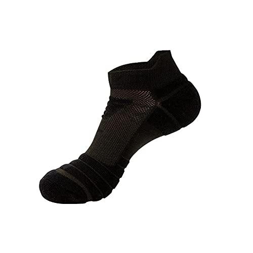 ZSQAW Calcetines Corriendo Hombres Baloncesto Transpirable Anti resbalón Deportivo Correr Ciclismo Caminar Mujeres al Aire Libre calcetín algodón atlético no Hay calcetín de Sudor (Color : Black)