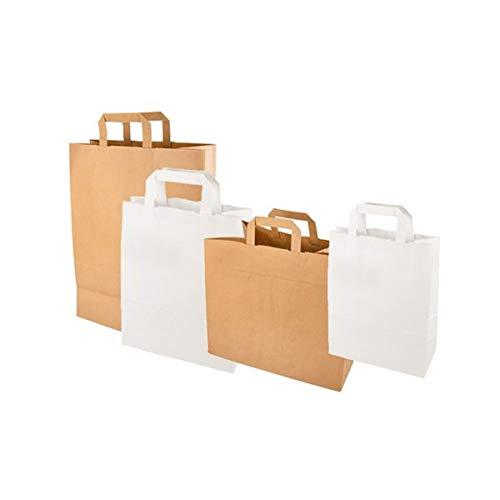 PAPSTAR Papier-Tragetasche, 320 x 170 x 270 mm, braun aus Kraftpapier, 70 gqm, Tragkraft: 5 kg, mit Tragegriff - 1 Stück (86449)