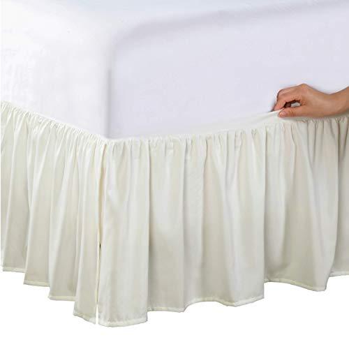 Bed Makers Wrap-Around Bedrok Nooit Lift Your Mattress, Classic 35,5 cm Drop Length Gevangen Ruffle Styling, Full, Ivoor