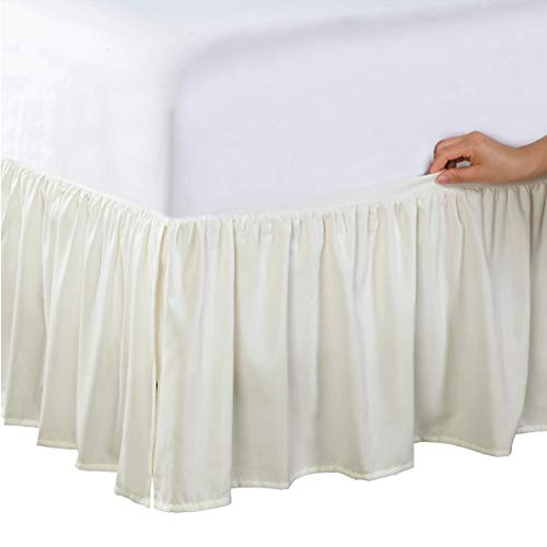 Bed Maker's Never Lift Your Mattress Microfiber Wrap-Around Bed Skirt, Gathered Ruffled Style, Classic 14 Inch Drop Length, Queen, Ivory
